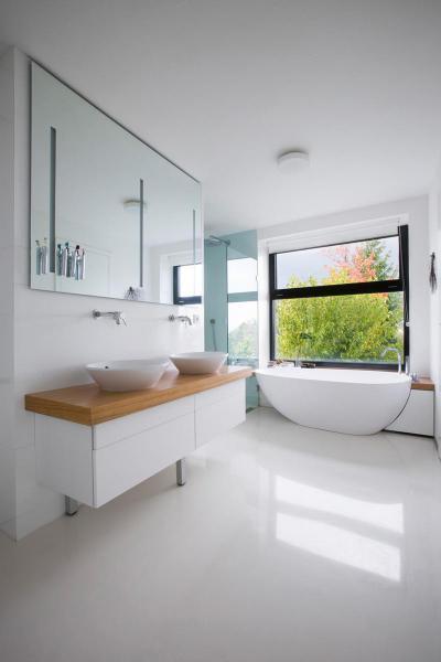 Világos minimál - fürdő / WC ötlet, modern stílusban