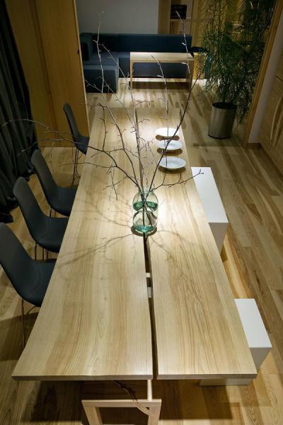 Elegáns fa részletek - konyha / étkező ötlet, modern stílusban