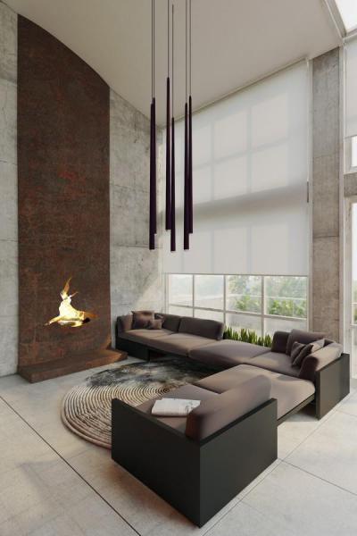 Design kandalló a fókuszban - nappali ötlet, modern stílusban