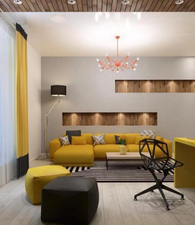 Nappali sárga és fekete színekben - nappali ötlet, modern stílusban
