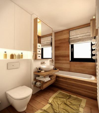 Fa burkolatok nagy mennyiségben - fürdő / WC ötlet, modern stílusban