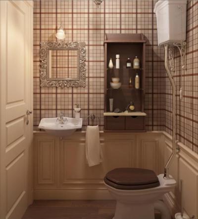 Kockás tapétával hangulatosan - fürdő / WC ötlet, klasszikus stílusban