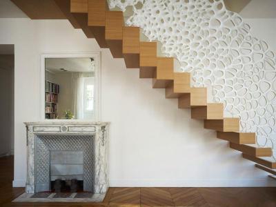 Sejtmintás Corian lépcsőkorlát - belső továbbiak ötlet, modern stílusban