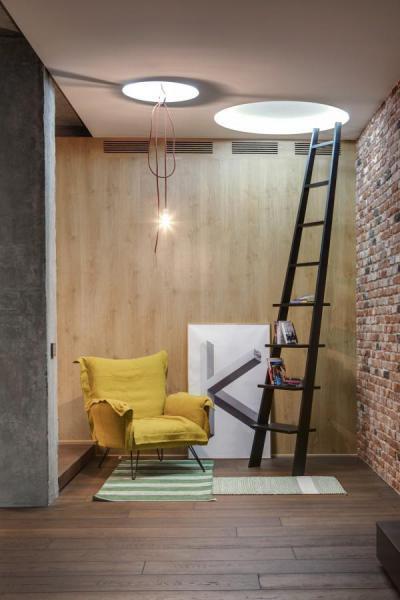 Pihenősarok létrapolccal - belső továbbiak ötlet, modern stílusban