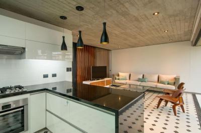 Egyterű nappali - konyha / étkező ötlet, modern stílusban