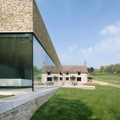 Modern kőház - homlokzat ötlet, modern stílusban