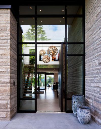 Üvegezett bejárat - bejárat ötlet, modern stílusban