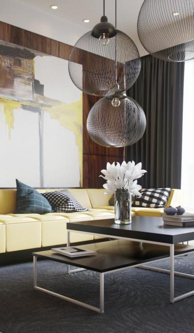 A szürke és a sárga meleg árnyalatai - nappali ötlet, modern stílusban