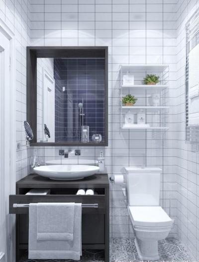 Monokróm cementlap padlóburkolat - fürdő / WC ötlet, modern stílusban