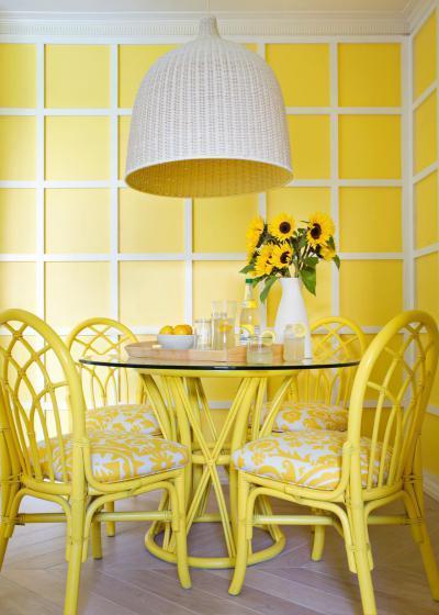 Sárga étkezősarok - konyha / étkező ötlet, modern stílusban