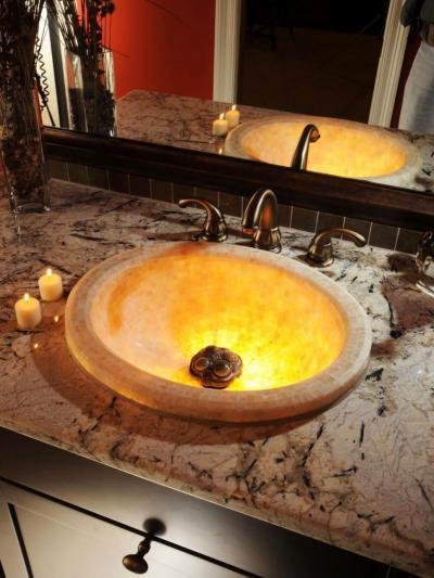 Megvilágított mosdókagyló - fürdő / WC ötlet