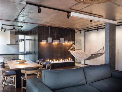 Loft egyterű nappali - nappali ötlet, modern stílusban