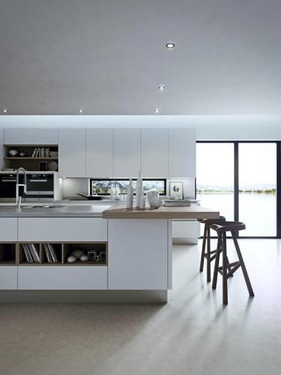 Modern fehér konyha - konyha / étkező ötlet, modern stílusban