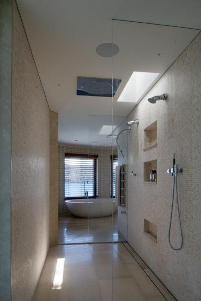 Épített elegáns tusoló - fürdő / WC ötlet, modern stílusban