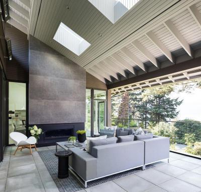 Modern nappali panoráma ablakkal - nappali ötlet, modern stílusban