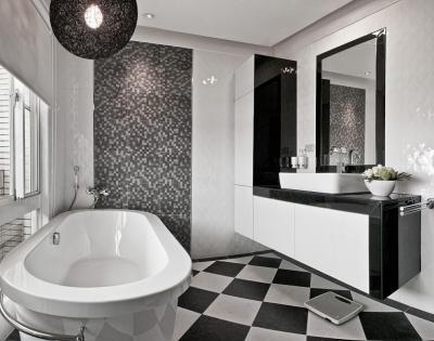 Elegáns fekete-fehér fürdő - fürdő / WC ötlet, modern stílusban