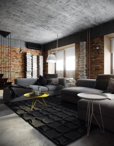Kreatív loft design - nappali ötlet, modern stílusban