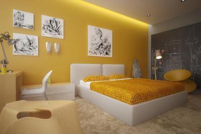 Sárga tiniszoba - gyerekszoba ötlet, modern stílusban