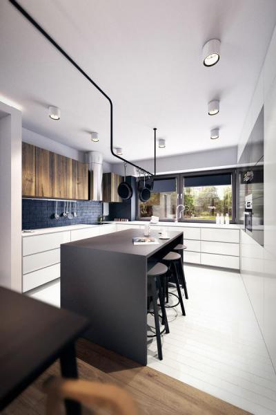 Fekete-fehér konyha fával - konyha / étkező ötlet, modern stílusban