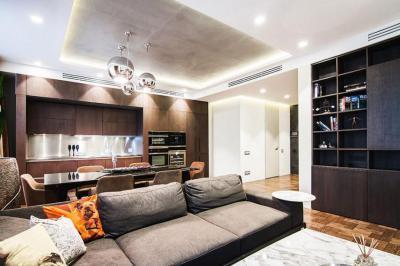 Nappali és konyha - nappali ötlet, modern stílusban