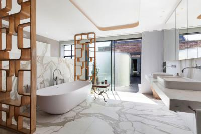 Látványos fürdőszoba - fürdő / WC ötlet, modern stílusban