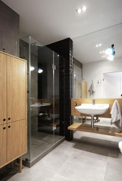 Skandináv lakás - fürdő / WC ötlet, modern stílusban