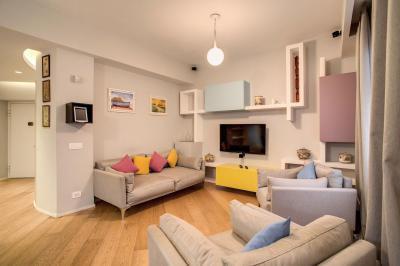 Pasztell színek - nappali ötlet, modern stílusban