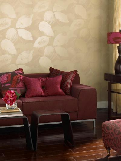 Bordó-bézs nappali - nappali ötlet, modern stílusban