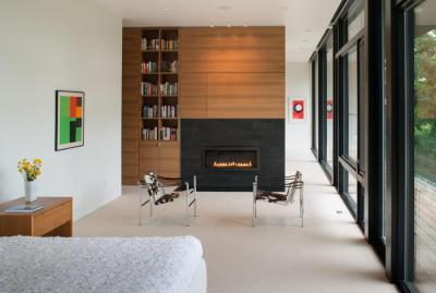 Könyvespolc a hálószobában - háló ötlet, modern stílusban