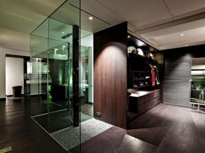 Gardróbszoba - fürdő / WC ötlet, modern stílusban