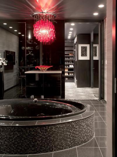 Vad, fekete fürdő - fürdő / WC ötlet, modern stílusban