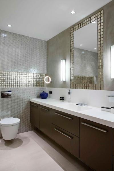 Csillogó mozaikcsempe - fürdő / WC ötlet, modern stílusban