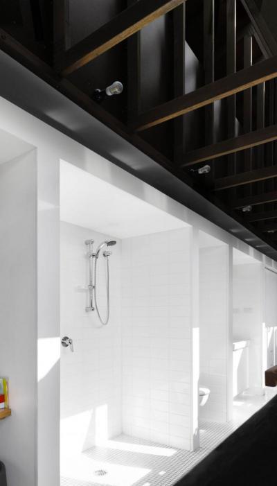 Nyitott zuhanyfülke - fürdő / WC ötlet, modern stílusban