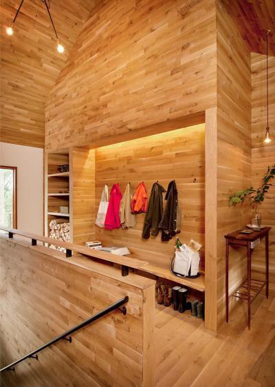 Csupa fa előszoba - előszoba ötlet, modern stílusban