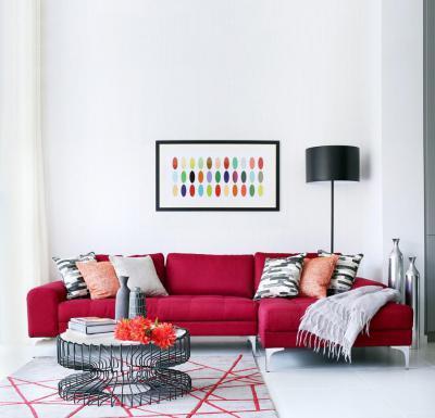 Meggypiros kanapé - nappali ötlet, modern stílusban
