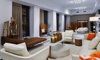 Fehér narancs nappali - nappali ötlet, modern stílusban