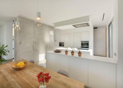 Látszóbeton a konyhában - konyha / étkező ötlet, modern stílusban