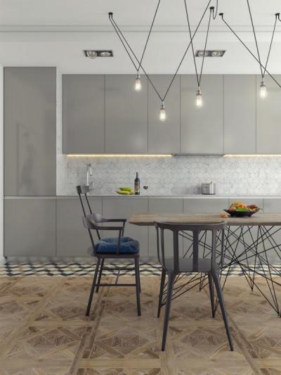 Modern konyha szürkében - konyha / étkező ötlet, modern stílusban