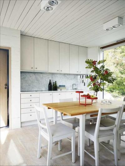 Fehér és világos - konyha / étkező ötlet, modern stílusban