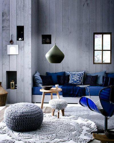 Kék gyönyörű árnyalatai - nappali ötlet, modern stílusban