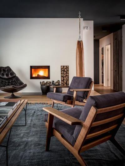 Férfias nappali - nappali ötlet, modern stílusban