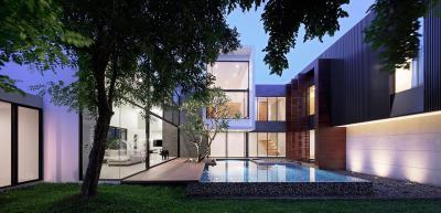 Modern családi ház medencével - homlokzat ötlet, modern stílusban
