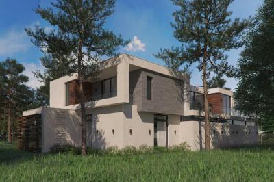 Fa és kő a homlokzaton - homlokzat ötlet, modern stílusban