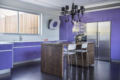 Orgonalila konyhabútor - konyha / étkező ötlet, modern stílusban