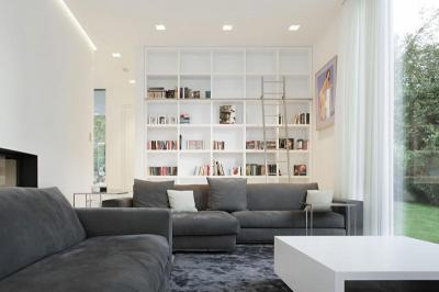 Nappali üvegfallal - nappali ötlet, modern stílusban