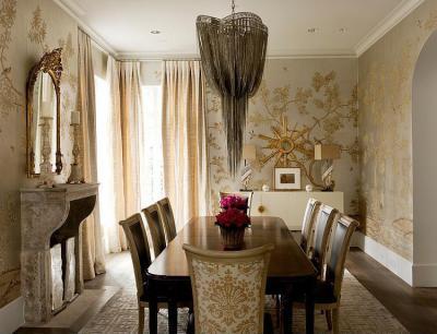 Díszes tapéta - nappali ötlet, klasszikus stílusban