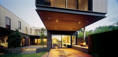Kandalló a teraszon - erkély / terasz ötlet, modern stílusban