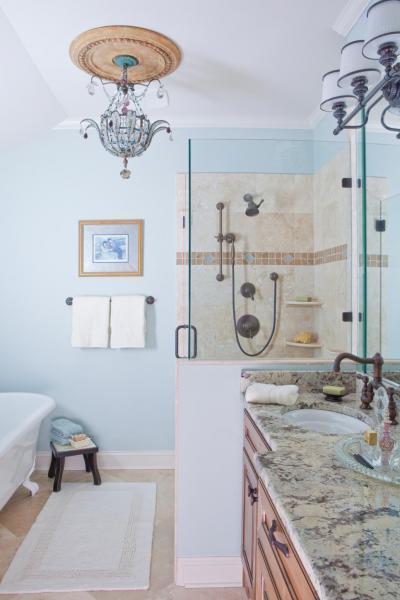 Kék és bézs fürdő - fürdő / WC ötlet