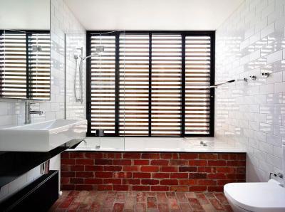 Tégla burkolatok - fürdő / WC ötlet, modern stílusban