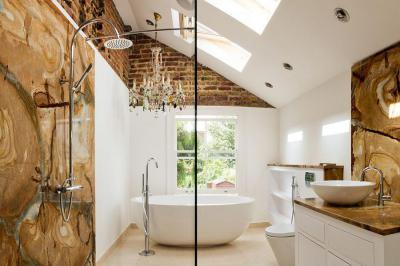 Gyönyörű és elegáns burkolat - fürdő / WC ötlet, modern stílusban